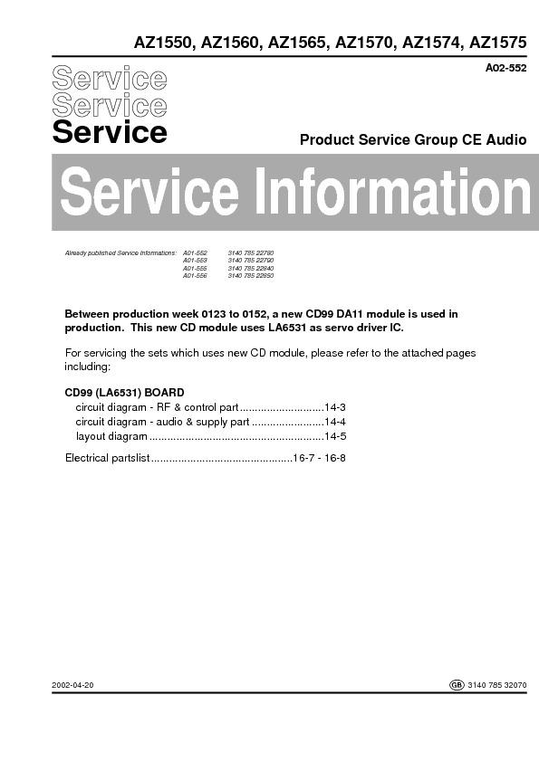 service manual for philips az1550 1560 1565 1570 1574 1575 az1550 rh service diagrams com Philips Schematics Philips Universal Remote SRP2003 27 Manual
