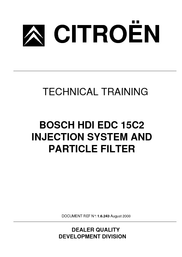 service manual for Bosch Bosch Hdi Edc15c2 Injection System Bosch ...