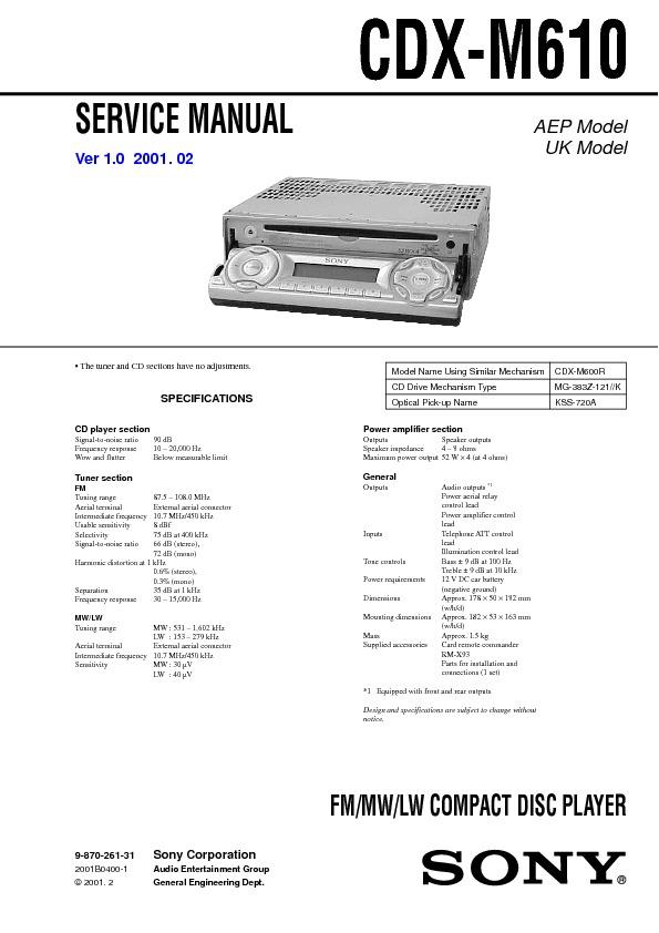 Car Audio service manual for Sony CDX-M610-V2