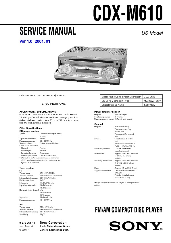 service manual for sony cdx m610 cdx m610 schematics datasheets rh service diagrams com Sony Explode Wiring-Diagram Sony Stereo Wiring Colors