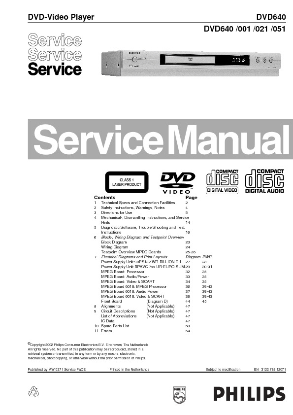 service manual for philips dvd640 dvd640 schematics datasheets rh service diagrams com Philips Television Philips Television