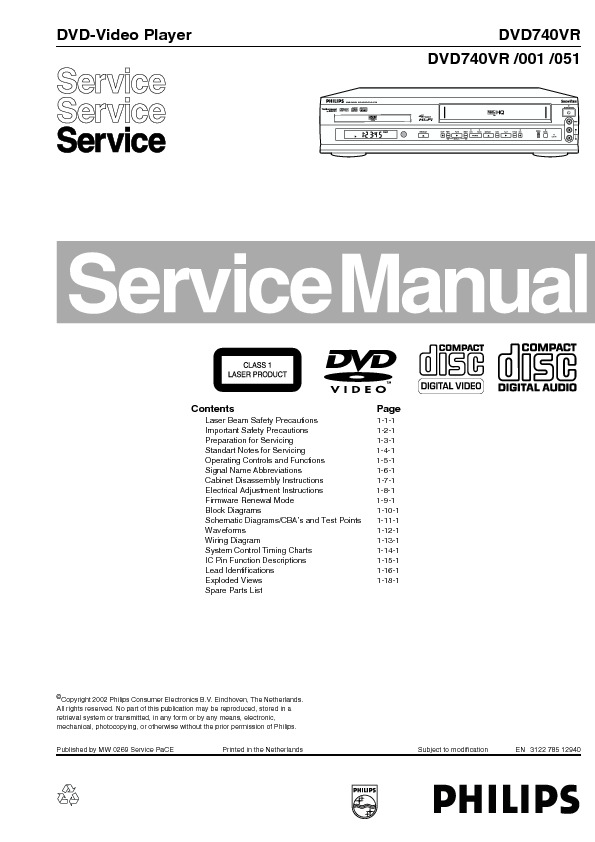 service manual for philips dvd740vr dvd740vr schematics datasheets rh service diagrams com Philips Electronics Manuals Philips Instruction Manuals
