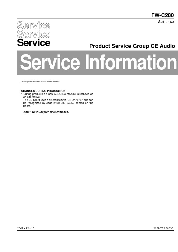 service manual for philips fw c280 fw c280 schematics datasheets rh service diagrams com Philips LCD TV Remote Philips Instruction Manuals