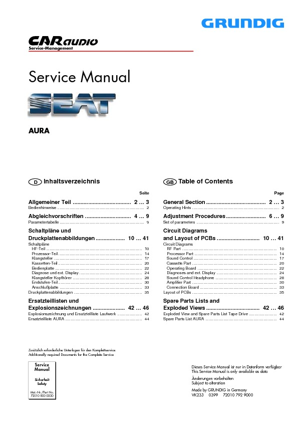 service manual for grundig grundig seat aura cd by grundig service rh service diagrams com sony car audio service manual sony car audio service manual