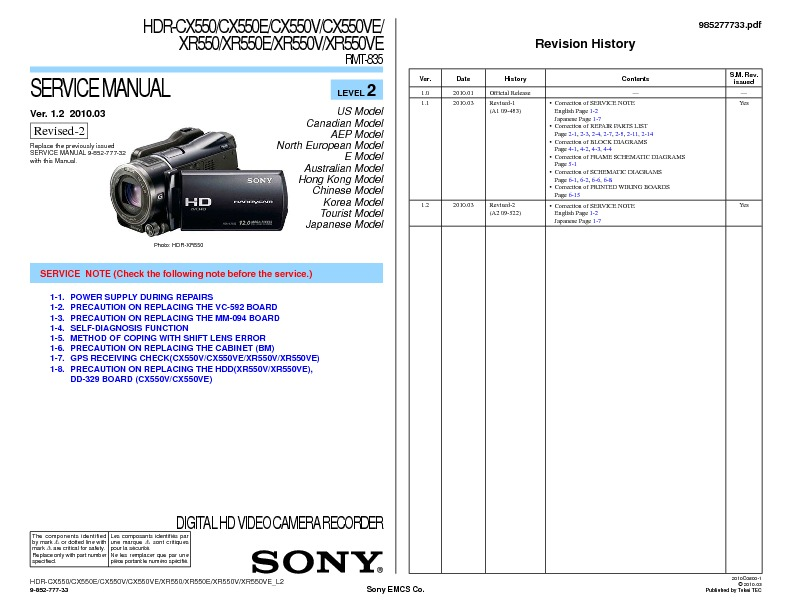 Hdr-cx550 hdr-xr550 owners manual genuine sony | ebay.