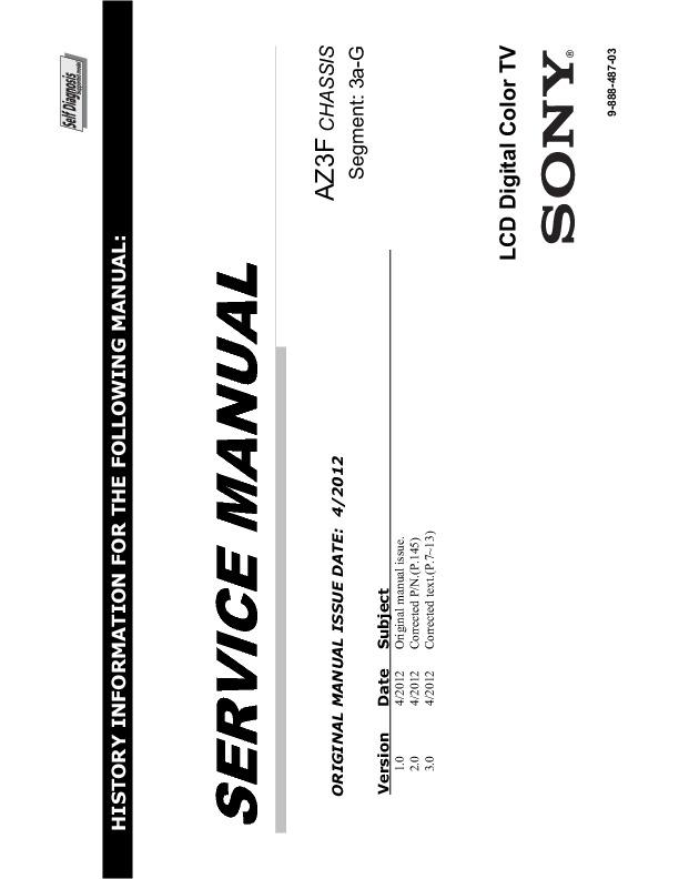 service manual for Sony KDL-46HX855 40HX850 40HX853 40HX855 ...