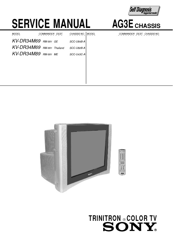 service manual for sony kv dr34m69 dr34m89 kv dr34m69 dr34m89 rh service diagrams com Trinitron White 36 Sony Trinitron TV