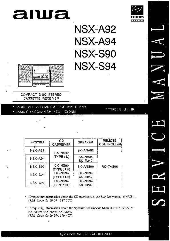 service manual for aiwa nsx a92 a94 s90 s94 nsx a92 a94 s90 s94 rh service diagrams com Aiwa Cassette Player Aiwa Stereo System