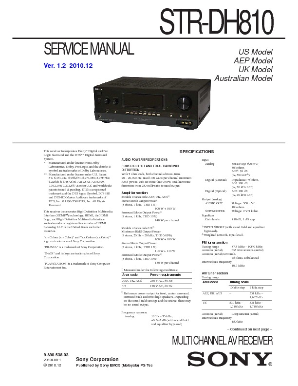 service manual for sony str dh810 str dh810 schematics datasheets rh service diagrams com sony receiver str-dh810 manual sony str-dh810 manual