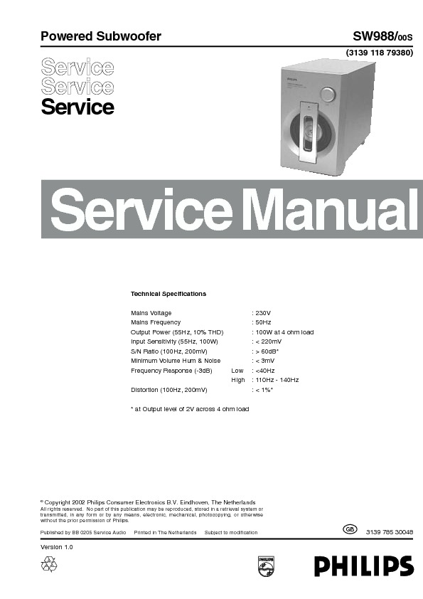 service manual for Philips SW988 SW988 schematics,datasheets